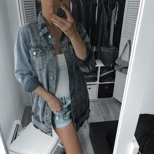 Jackets & Blazers - Acid Washed Black Oversized Denim Jean Jacket